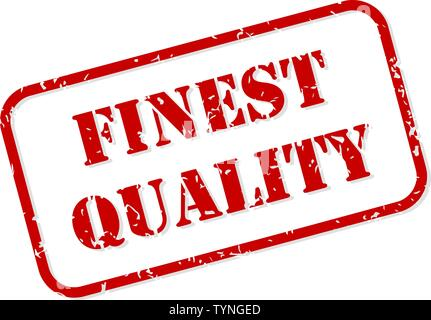 Finest quality red rubber stamp vector isolated - Stock Image