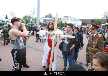 The man in Jesus Christ's guise during the 19th edition of the Pyrkon Fantasy Festival which took place on April 26-28, 2019, at the Poznan Internatio - Stock Image