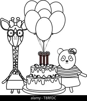 cute sheep and giraffe with panda in birthday party vector illustration design - Stock Image