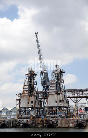 Cranes at teh Docks in Cape Town Waterfront , South Africa - Stock Image