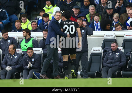 Leicester manager Claude Puel seen as Shinji Okazaki of Leicester is substituted during the Premier League match between Brighton and Hove Albion and Leicester City at the American Express Community Stadium in Brighton and Hove. 31 Mar 2018 *** Editorial use only. No merchandising. For Football images FA and Premier League restrictions apply inc. no internet/mobile usage without FAPL license - for details contact Football Dataco *** - Stock Image