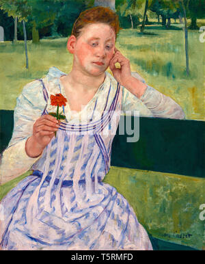 Mary Cassatt, Woman with a Red Zinnia, painting, 1891 - Stock Image