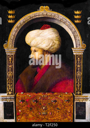 The Portrait of Ottoman Sultan Mehmed the Conqueror by Gentile Bellini, 1480 - Stock Image