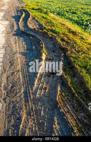 Deep tyre tracks from heavy vehicles on muddy verge of road, France. - Stock Image