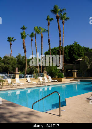 An outdoor swimming pool at a hotel in Arizona, USA - Stock Image