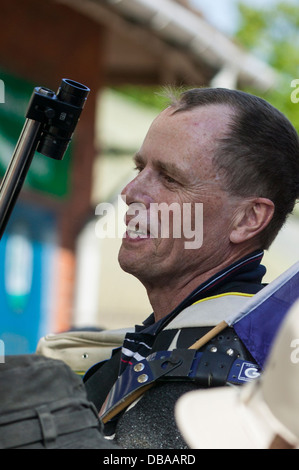 Close up of James (Jim) Corbett of Benalla, Australia, winner of  the 2013 Queens Prize at Bisley, England - Stock Image