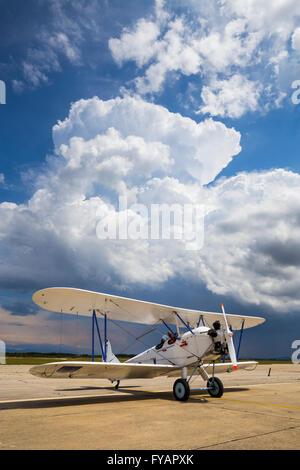 Polikarpov Po-2 before Summer cloudy sky - Stock Image