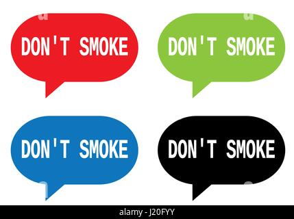 DON'T SMOKE text, on rectangle speech bubble sign, in color set. - Stock Image