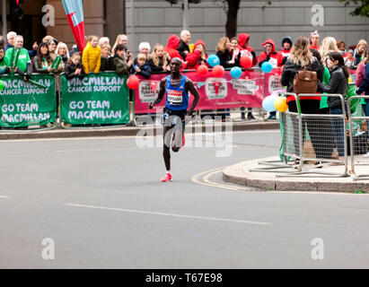 Elite Male athlete, Wilson Kipsang from Kenya, running in the 2019 London Marathon.  He went on to finish 12th, in  a time of 02:09:18 - Stock Image