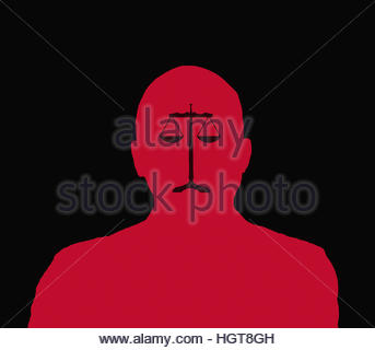 Scales of justice forming sad face on silhouette of man - Stock Image