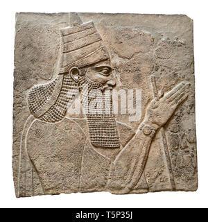 British Museum, Bloomsbury, London, England, UK. Assyrian King Tiglath-pileser III (c728BC) from Nimrud Central Palace (cutout) - Stock Image