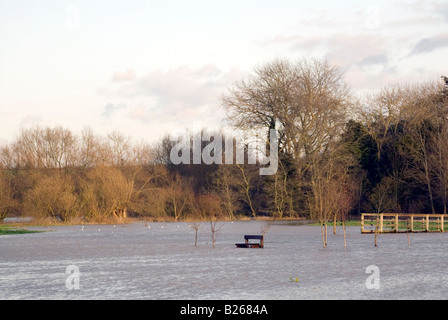 Park bench by a flooded river in Newport Pagnell near Milton Keynes City of Milton Keynes - Stock Image