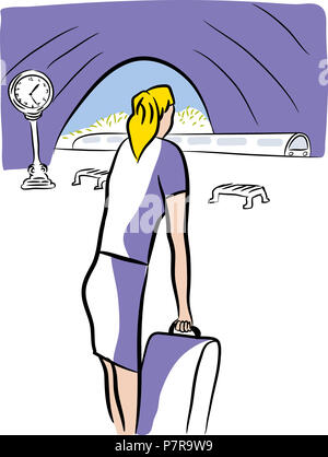 Railway station.  Young woman waiting with her bag for railway in the railway station. - Stock Image