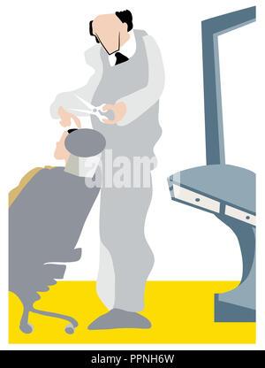Senior barber make haircut.  Male barber cutting hair of customer in barber salon. Old barber make haircut with scissors at barbershop. - Stock Image