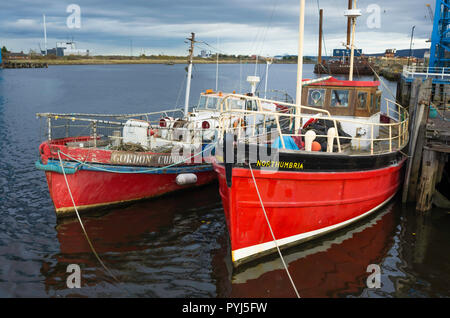 Retired Barnett Class Lifeboat Gordon Cubbin and retired MFV Northumbria moored on the Tees near the Middlesbrough Transporter bridge - Stock Image