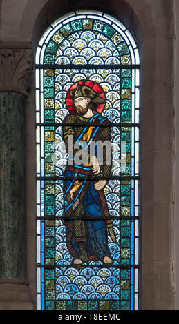 Pre-Raphaelite stained glass depicting Judah son of Jacob and Leah, St Catherine church Hoarwithy Herefordshire England UK. February 2019. - Stock Image