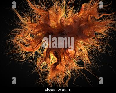 red hair abstract. red grows freely moving in air. wavy hair forms. suitable for beauty, fashion and hair themes. 3d illustration - Stock Image