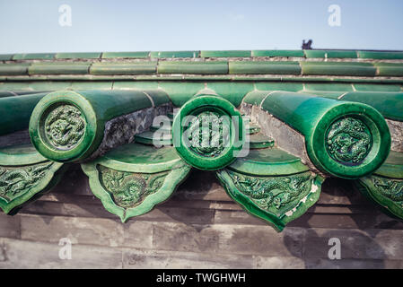 Wall with green tiles around Hall of Prayer for Good Harvests in Temple of Heaven, one of the mayor tourist attractions in Beijing, capital city of Ch - Stock Image