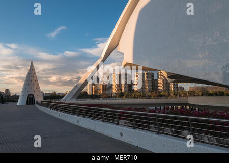 Valencia skyline , featuring high rise buildings seen through the Palace of Arts Reina Sofia, City of Arts and Sciences, Valencia, Spain. - Stock Image