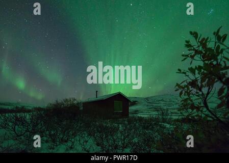 Northern lights, aurora borealis, mountain, Biggas, Finnmark - Stock Image