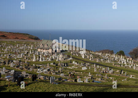 Saint Tudno's church on the Great Orme at Llandudno on the North Wales coast - Stock Image