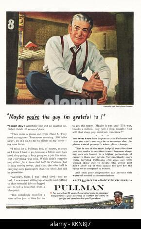1943 U.S. Magazine Pullman Train Advert - Stock Image