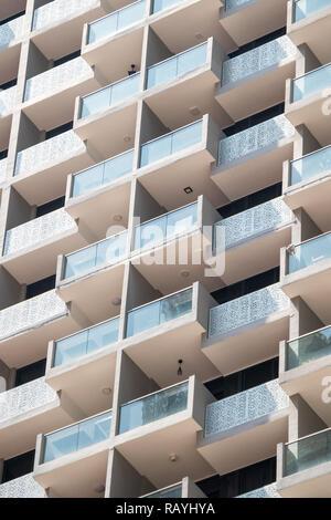 Balconies on an apartment block, Singapore - Stock Image