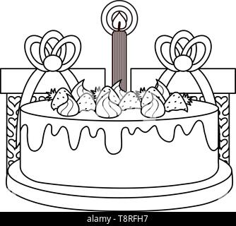 gifts boxes presents with sweet cake vector illustration design - Stock Image