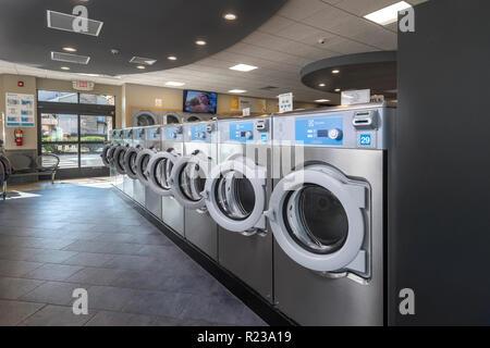 Laundromat Machines, USA - Stock Image