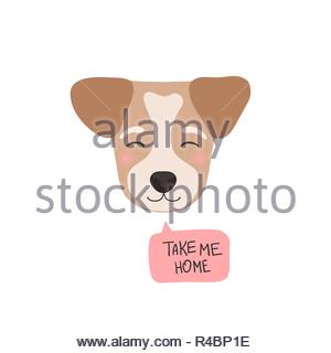 Take me home. Flat style dog head. Cute cartoon vector illustration isolated on white background - Stock Image