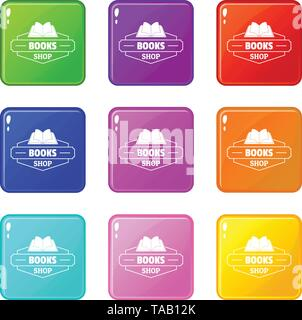 Book shop icons set 9 color collection - Stock Image