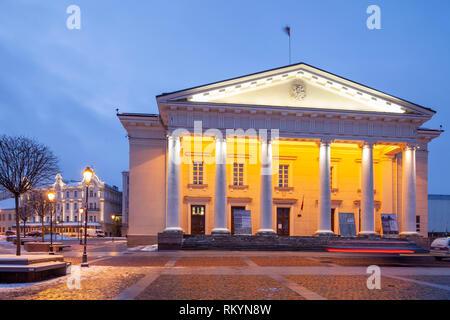 Winter dawn at Vilnius city hall. - Stock Image