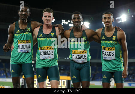 YOKOHAMA, JAPAN - MAY 11: Ashley Hlungwani, Pieter Conradie, Ranto Dikgale and Gardeo Isaacs of South Africa after the mens 4x400m relay heat during day 1 of the IAAF World Relays at Nissan Stadium on May 11, 2019 in Yokohama, Japan. (Photo by Roger Sedres/Gallo Images) - Stock Image