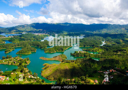 Panoramic view from Rock of Guatape in  Medellin, Colombia - Stock Image