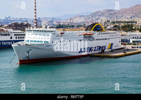 ANEK Algerie car and passenger ferry Elyros moored in port of Piraeus Athens Greece Europe - Stock Image