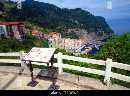 Viewpoint over the village. Elantxobe, Vizcaya province, Basque Country, Spain. - Stock Image