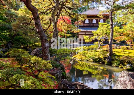 Ginkaku-ji (Temple of the Silver Pavilion) during the autumn momiji season in Kyoto, Japan - Stock Image