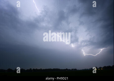 Lightning during a thunderstorm in the Netherlands - Stock Image