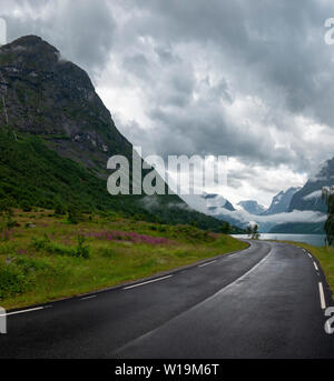 Valley road above Olden, Norway - Stock Image