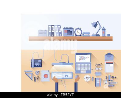 Overhead of messy desk in office - Stock Image