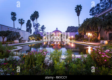Early morning view of the Lily Pond and Botanical Building in Balboa Park in San Diego in California. - Stock Image