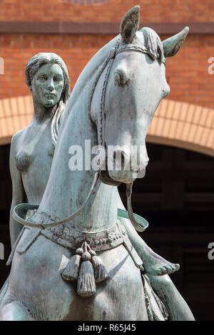Coventry, UK - July 26th 2018: A statue of Lady Godiva in the historic city of Coventry, UK.  Lady Godiva was a noblewoman who according to legend, ro - Stock Image
