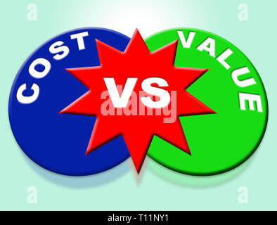Cost Vs Value Words Denotes Return On Investment Roi. Spending And Expenses Versus Net Profit - 3d Illustration - Stock Image