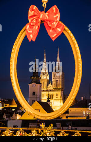 Advent in Zagreb, a view to Zagreb Cathedral to the picture frame at night - Stock Image