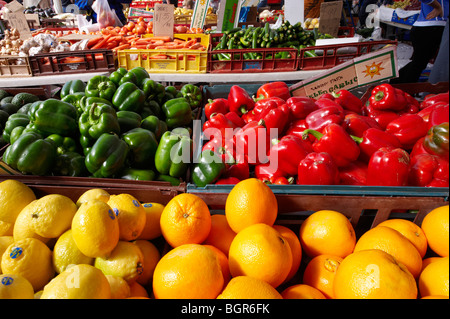 Fresh fruit and vegetables at green grocers - Stock Image