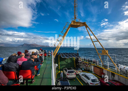 The Armadale to Mallaig car ferry sets sail from the Ilse of Skye in the Highlands of Scotland - Stock Image