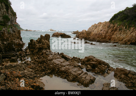 A View from the Coastal Footpath, Featherbed Nature Reserve, Knysna, Western Cape, South Africa. - Stock Image
