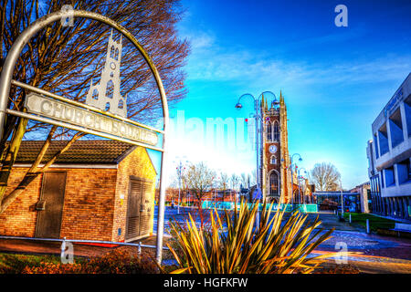 Church square Scunthorpe Town St John's Church in Scunthorpe town, Lincolnshire UK England - Stock Image