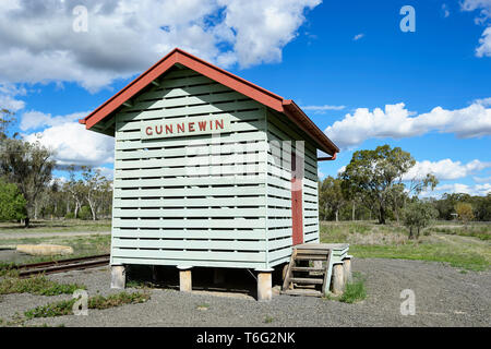 The old Gunnewin railway station is a historical point of interest near Injune, South West Queensland, QLD, Australia - Stock Image