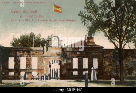 Gate to the shipyard, Arsenal, Ferrol, Galicia, Spain.      Date: circa 1904 - Stock Image